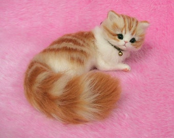 Needle Felted Cute Fluffy Kitten, Orange Tabby: Miniature Wool Felt Cat, Needle Felting