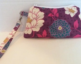 Purple wristlet, clutch, wrist wallet.  Joel Dewberry Dahlia in lavender, blue and white with teal lining and detachable wrist strap