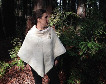 Cowl Neck Poncho Sweater w/Button Details