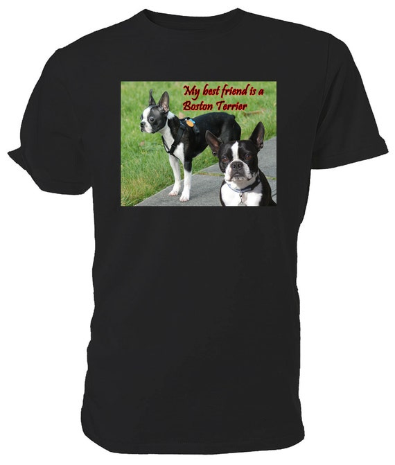Boston Terrier T shirt. classic round neck short sleeved choice of sizes and colours, My Best Friend