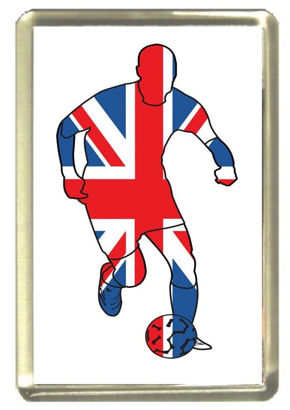 Union Jack Flag Footballer Fridge Magnet 7cm by 4.5cm,