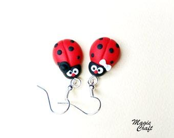 Ladybird Ladybug Earrings - Handmade in Polymer Clay