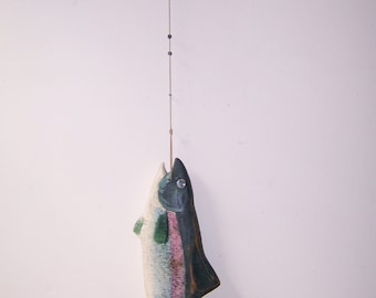 Folk Art hand carved and painted Trout