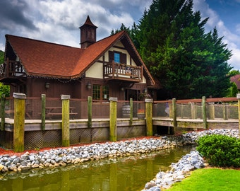 Small stream and red-roofed building in Helen, Georgia - Urban Architecture Photography Fine Art Print or Wrapped Canvas