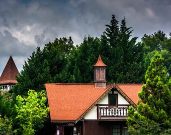 Trees and red-roofed buildings in Helen, Georgia - Urban Architecture Photography Fine Art Print or Wrapped Canvas