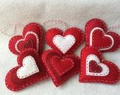 Custom Order for Gale R.  - Felt Heart Valentine Ornament Set