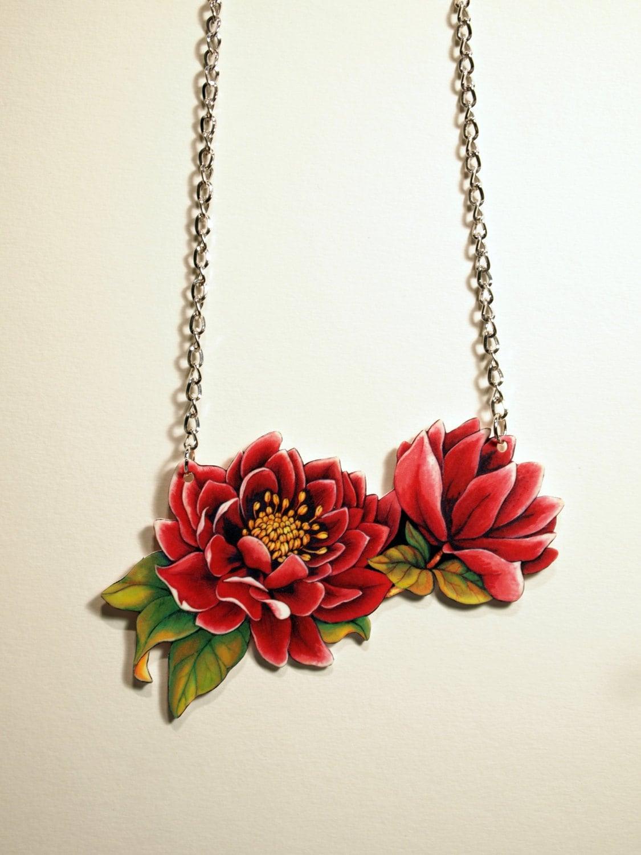 Flower Necklace – Pink Christmas rose – Hellebore illustration Necklace – Ets
