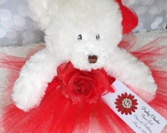 Princess Rose Tutu Teddy Bear in Custom Colors, flower girl gift, Wedding Keepsake