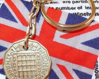 1954 3d 12 Sided Threepence English Coin Keyring Key Chain Fob Queen Elizabeth II