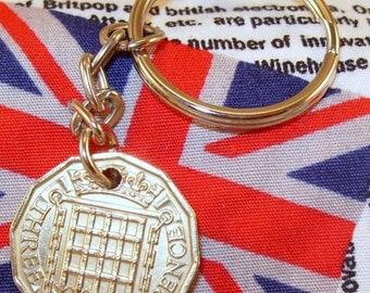 1963 3d 12 Sided Threepence English Coin Keyring Key Chain Fob Queen Elizabeth II