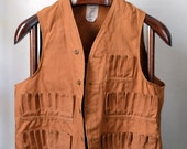 Vtg. 1940s Tan Canvas Shooting Hunting Vest Size 42 M Medium