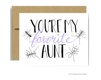 My favorite aunt card - ant pun punny lavender greeting card mothers day for aunt card - white a2 aunt birthday card