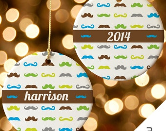 Personalized Mustache Christmas Ornament   Custom Mustache Decor   Mustache Decoration