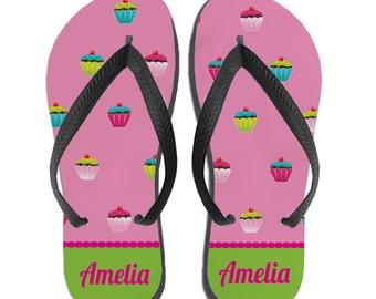 Kids Personalized Flip Flops - Cupcake Monogram Gift, Custom Flip Flops, Girls Sandals