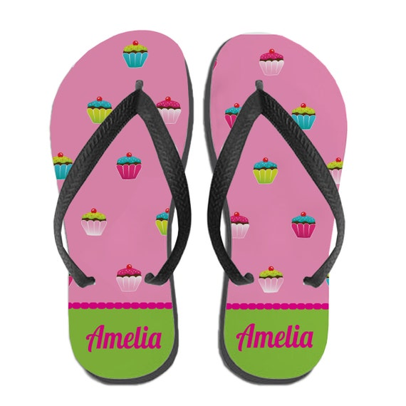 Kids Personalized Flip Flops Cupcake Monogram Gift Custom