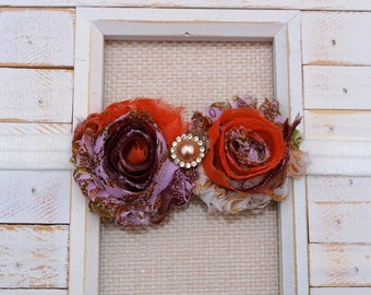 Double Shabby Chiffon Pearl Flower headband (Copper/Brown)