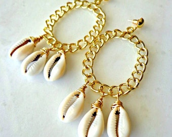 Large Hoop Earrings, Chained Hoop Cowrie Shell Earrings, Urban Chic Earrings, Ethnic Earrings