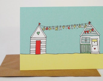 Congratulations Beach Hut Card, Illustrated, Seaside, Bunting, Greeting Card, Hand Drawn, Colourful, Vintage