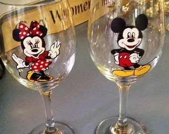 Mickey and Minnie hand painted wine glasses