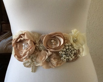 Creamy Wedding Sash- Ivory Wedding