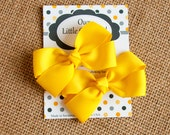 Yellow Pig Tail Bows, Yellow Piggy Tail Bows, Toddler Bows, 3 Inch Bows, Baby Hair Bows, Yellow Hair Bow, Toddler Hair Bows, Baby Bows