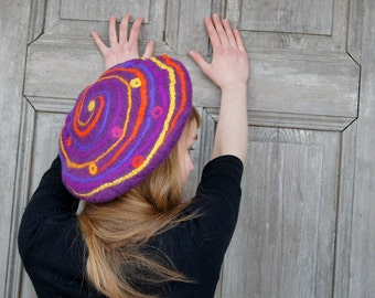 Unique funny nuno felted beret, woman winter fashion, wool hat in vivid colors with geometric spiral design . OOAK