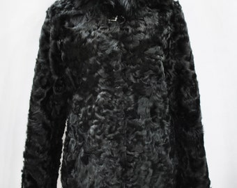 Vintage HOODED real ship skin jacket with fox fur ....(138)