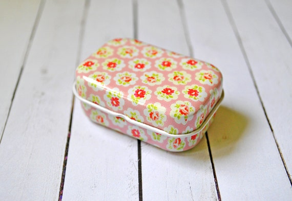 Floral Pink Tin Box Mini Pill Case Roses By