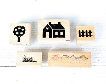 Vintage House Themed Rubber Stamp Set of Five