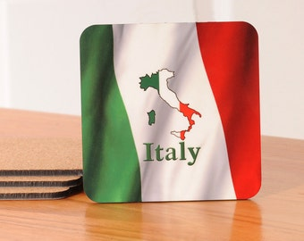 Italy Flag Coasters - set of 4