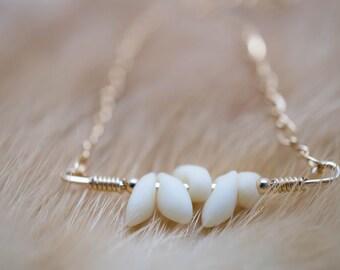 talons / ivory and gold bar boho necklace