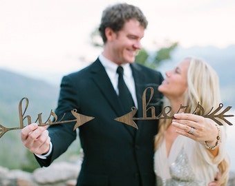 Wedding Chair Signs: his and hers arrows