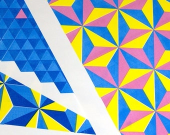 Triangle City Series of 3 Risograph Prints