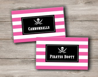 Pink Pirate Party Food Tent Cards with Editable Text, Printable Pink Pirate Food Tent Cards, Pink Pirate Food Labels, Pink Pirate Food Tags