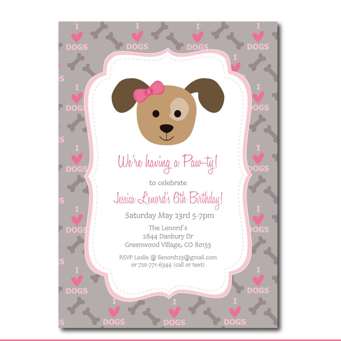 Cat And Dog Birthday Party Invitations
