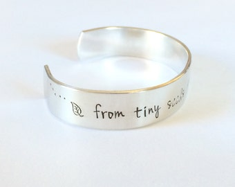 Teacher gift - From tiny seeds grow mighty trees  -  Hand Stamped Bracelet Aluminum Cuff - Inspiration hand stamped cuff