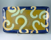 Hand-Built Rectangular Pottery Serving Tray - Blue, Turquoise-Green, with Gold Swirls