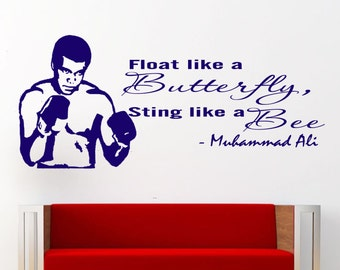 "Muhammad Ali Wall quote ""float like a butterfly sting like a bee"" Wall stickers decal gym, boxing vinyl JRD4"