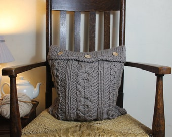 Knitted Cushion Cover - XOXO decorative pillow, knit cushion cover, knit, knitted pillow cover, rustic home decor, UK, grey merino