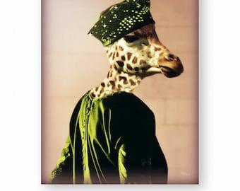 "Giraffe Art Print Animals In Clothes Nursery Decor Anthropomorphic Photography Giraffe Gifts Animal Art (3 Sizes) ""Who's That Lady"""