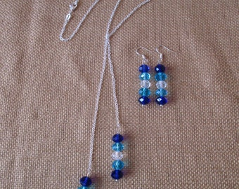Ombre Swarovski Lariat Necklace and Earrings Set by The Darling Duck