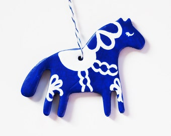 Dala Horse Ornament - Clay - Hand-painted Ornament in Cobalt Blue and White - Christmas Tree Ornament - Pony Ornament