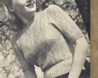 1940s Knitting Pattern for Womens Jumper / Pullover in Lace Stitch Short Sleeve - 36 in Bust - Digital PDF