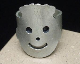 Happy Face Ring Adjustable Silver Tone