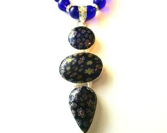 Blue Millefiori Neckace, Triple Cobalt Blue Millefiori Pendant And Glass Bead Necklace