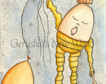 Simply Floating Through Dreams - Salted Watercolor, Print, Humpty Dumpty, Fairy Tale Art