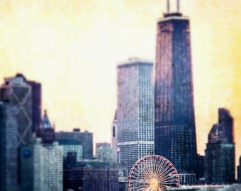 "Chicago Art, Chicago Photography, Fine Art Print, Lakeshore, Chicago Skyline, Navy Pier, Ferris Wheel, Chicago Wall Decor - ""Eye of Chicago"""