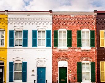 "Washington DC, Georgetown, Fine Art Print, Row House, Yellow, Red, White, Blue Wall Decor, Architectural Wall Art, B&W Option - ""Georgy"""