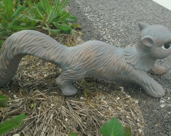 Ceramic brick stoneware Gray grey Squirrel MADE TO ORDER tail down
