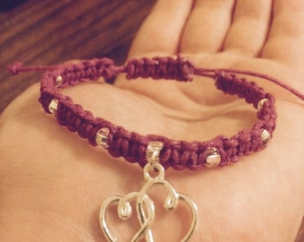 Purple Heart Macrame Hemp Bracelet Beaded made Adjustable
